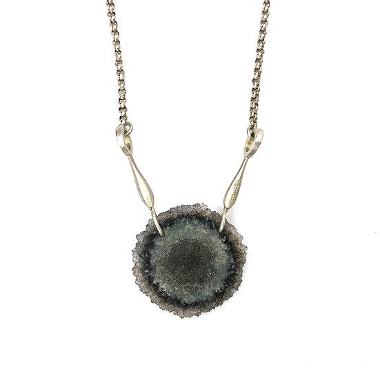 Geode Disk Necklace  | Sterling Silver