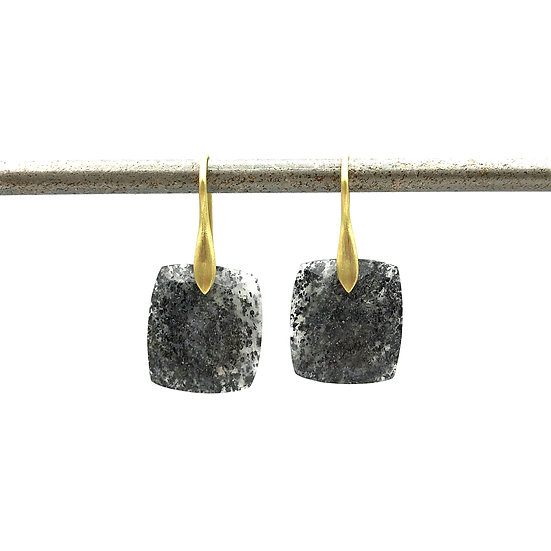 Black Sunstone Rectangle Earrings in 18k Recycled Yellow Gold