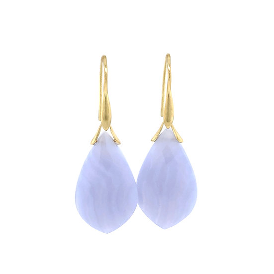 Blue Lace Agate Kite Trapeze Earrings | 18k Yellow Gold