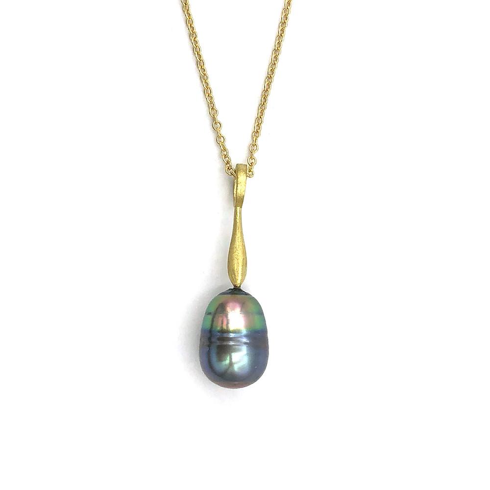 Tahitian Pearl Pendant in 18k Yellow Gold by Original Eve Designs