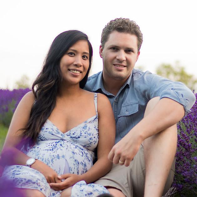 family portrait in lavender field