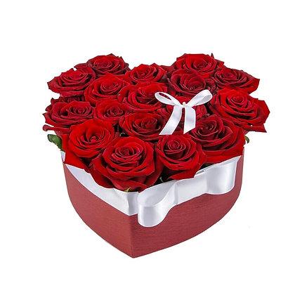 Rose Heart Box With Ribbon