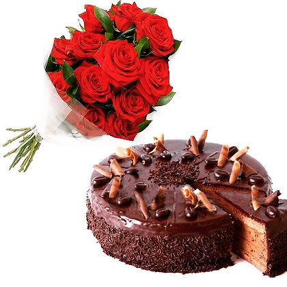 Red Roses and Chocolate Cake Gift Pack