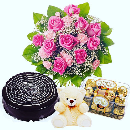 Pink Roses With Cake, Chocolates And Teddy Bear