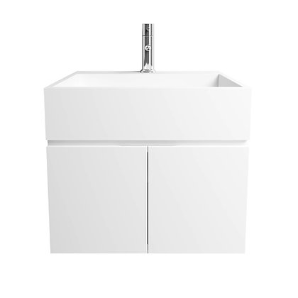 Single Cabinet Solid Surface Vanity with Infinity Sink