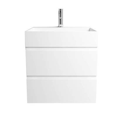 Double Drawer Solid Surface Vanity with Infinity Sink
