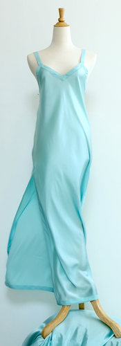 Cocoon Capucine Gown in Satin Silk Azure