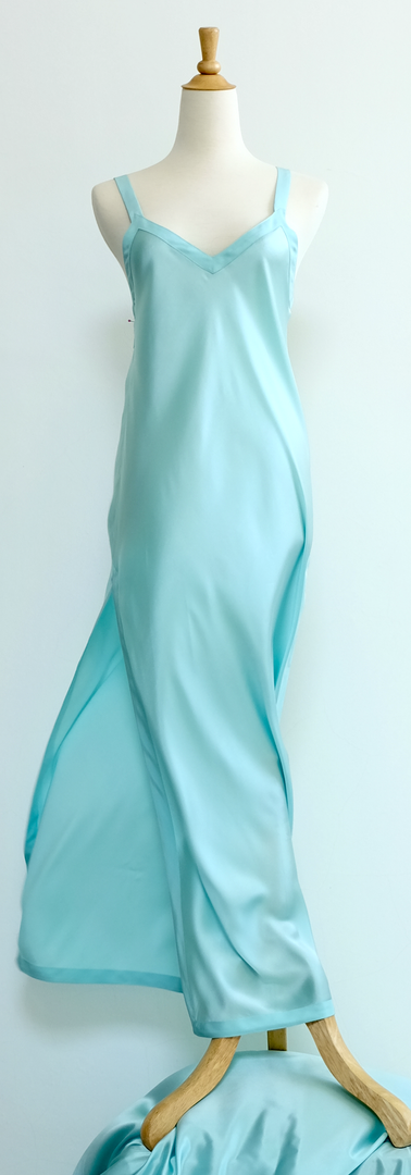Cocoon Capucine Gown in Satin Silk Azure