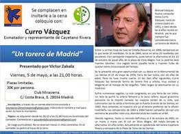 CENA-COLOQUIO CON EL TORERO CURRO VÁZQUEZ