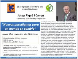 CENA-COLOQUIO CON JOSEP PIQUÉ I CAMPS