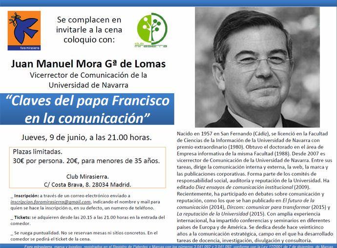 CENA-COLOQUIO CON JUAN MANUEL MORA