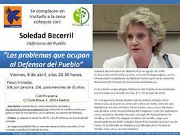 CENA-COLOQUIO CON SOLEDAD BECERRIL