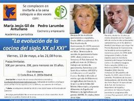 CENA-COLOQUIO CON EL COCINERO PEDRO LARUMBE Y LA PERIODISTA GIL DE ANTUÑANO