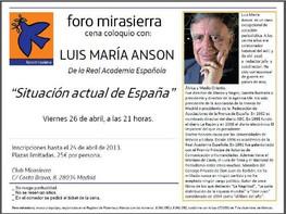 CENA-COLOQUIO CON LUIS MARÍA ANSON