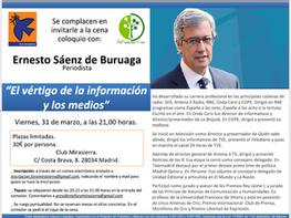 CENA-COLOQUIO CON ERNESTO SÁENZ DE BURUAGA