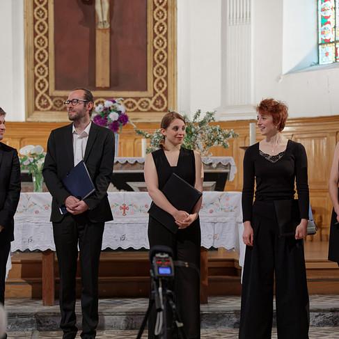 L'Ensemble Sottovoce en concert en l'église de Beslé-sur-Vilaine.