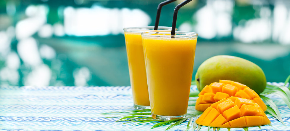 Fresh tropical fruit smoothie mango juic