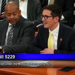 Jason testifying in Lansing in support of legislation to allow regional transit in SE Michigan