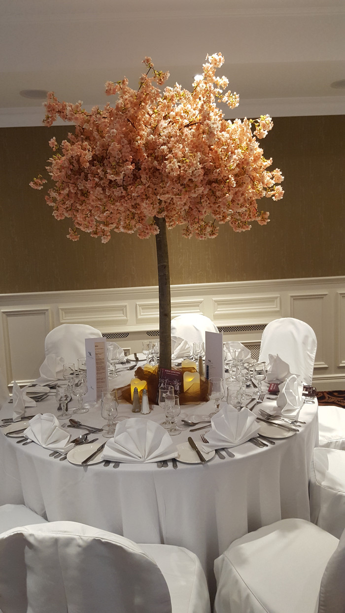 Pink cherry blossom center pieces hire