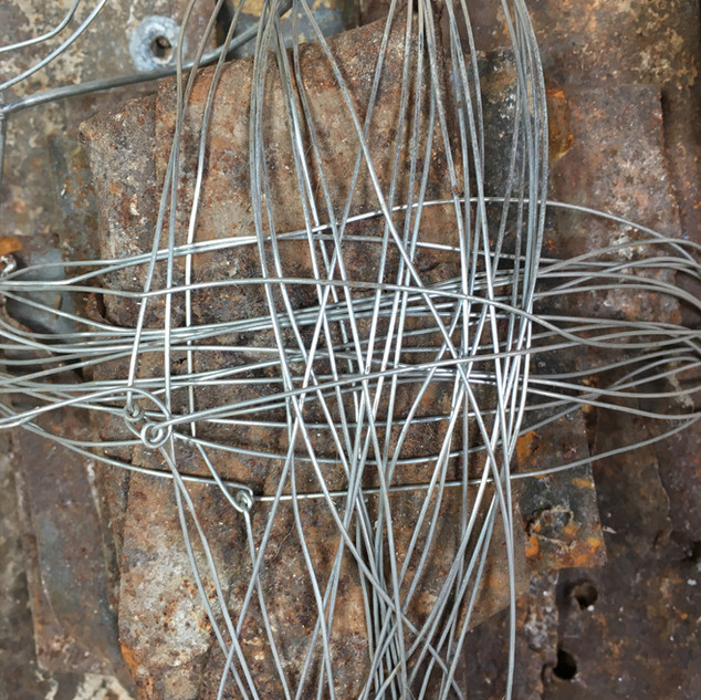 Wire wrapped round scrap metal