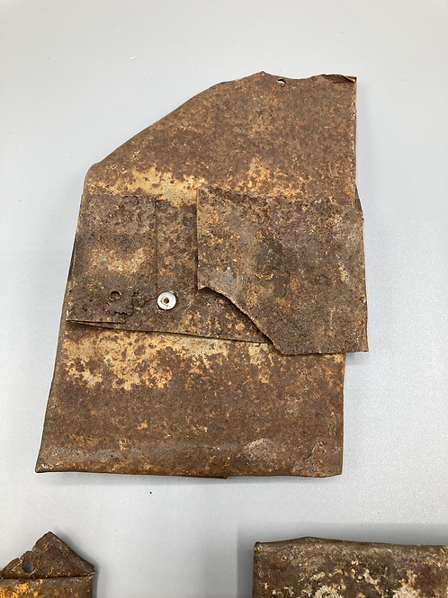 Box No.38 - 3 pieces of rusty sheet metal folded and hammered