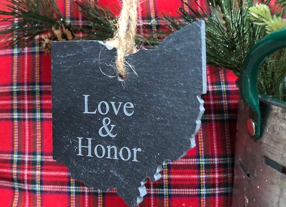 Love & Honor Ohio Slate Ornament