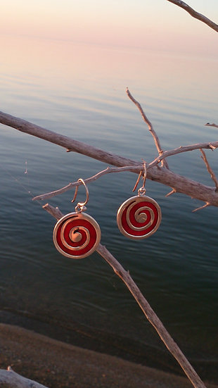 Red Coral Swirl Earrings