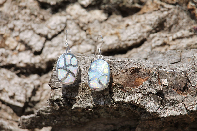 White Opal Looking Glass Earrings