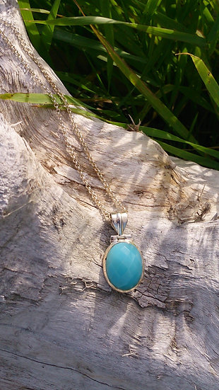 Chalcedony Teal Necklace