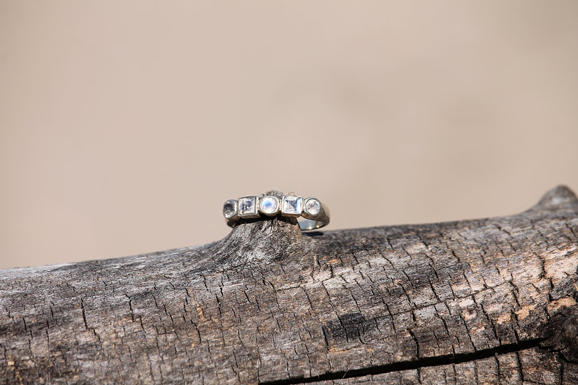 White Circle and Square Moonstone Ring