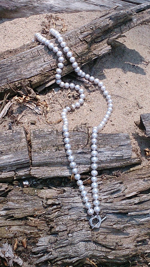 Soft Grey Pearls with Heart Clap Necklace