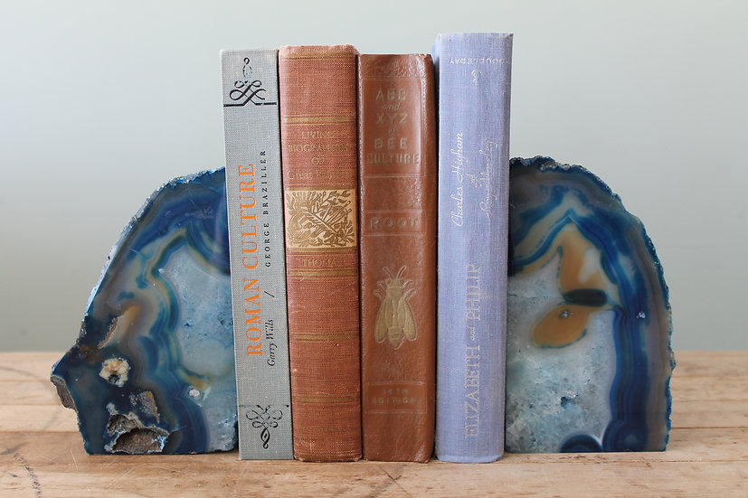 Blue Agate Stone Bookends