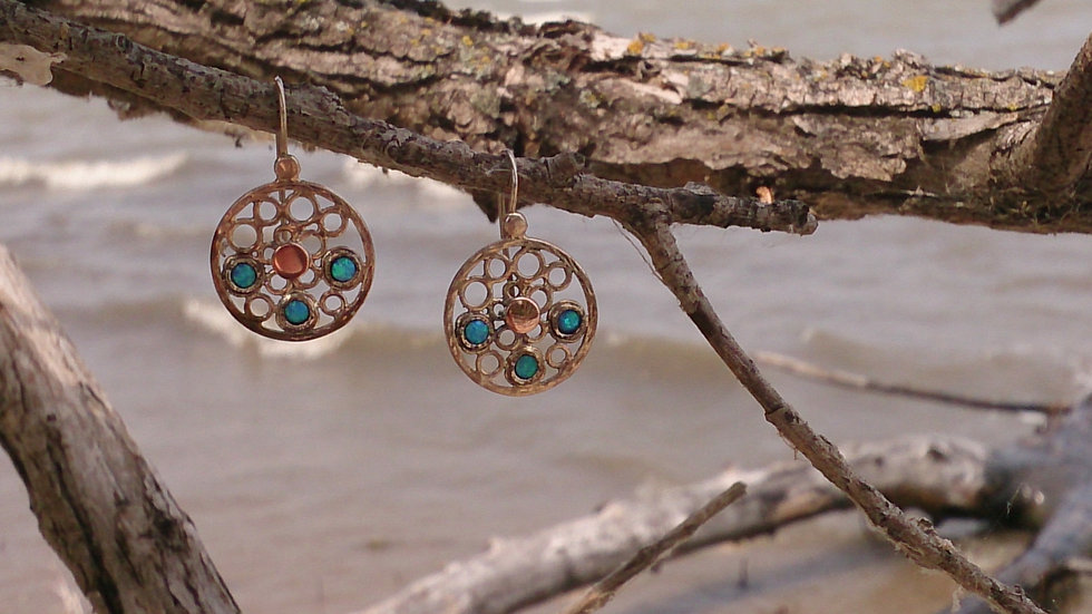Opal Earrings with Rose Gold detail