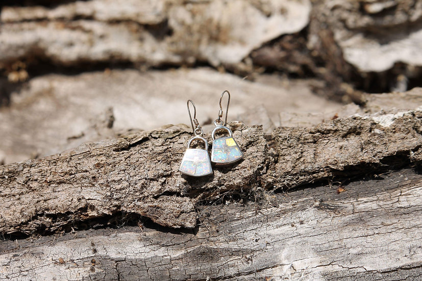 White Opal Purse Earrings