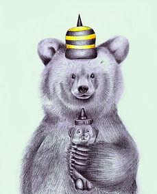 desenho a mao autoral a lapis de urso com pote de mel a bone de abelha finalizado no photoshop