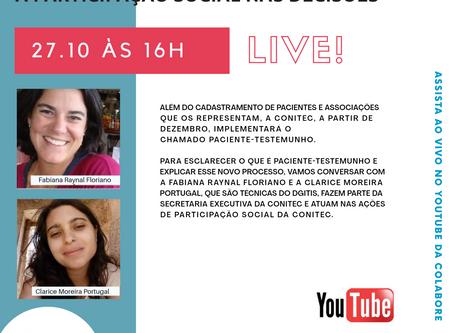 Inscreva-se: Live -Conheça as novas ações da Conitec para ampliar a participação social nas decisões