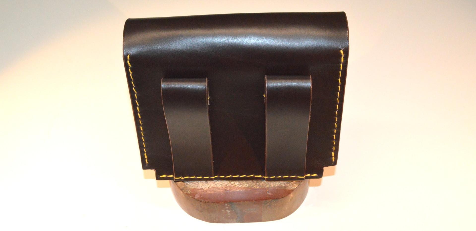 Pochette ceinture en cuir brun