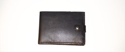 Porte-carte en cuir de veau noir
