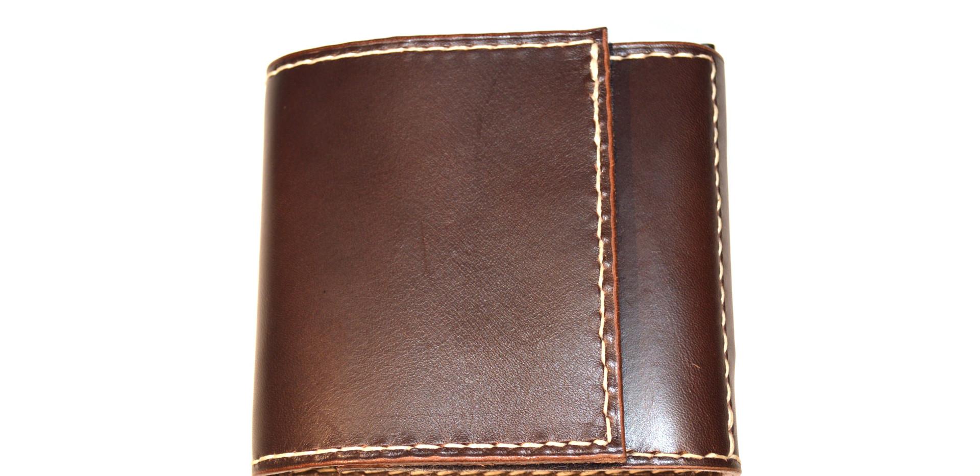Portefeuille à pince en cuir de bride brun