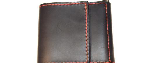 Portefeuille à pince en cuir de bride noir