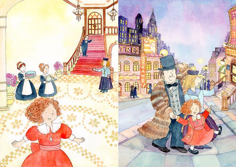 アニーストーリーページイラスト:ウォーバックスさんのお屋敷とお出かけの場面