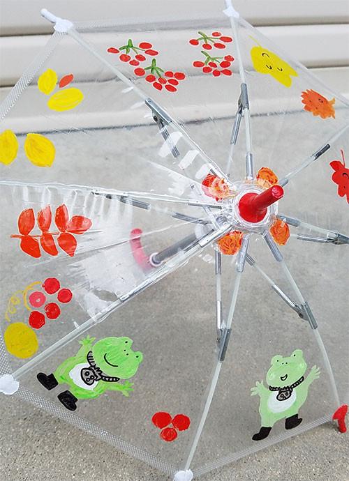 かえると秋の草花を描きかけ途中のおもちゃの傘