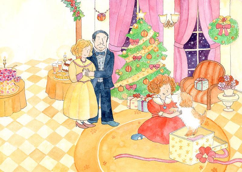 アニーストーリーページイラスト:クリスマスプレゼントの場面