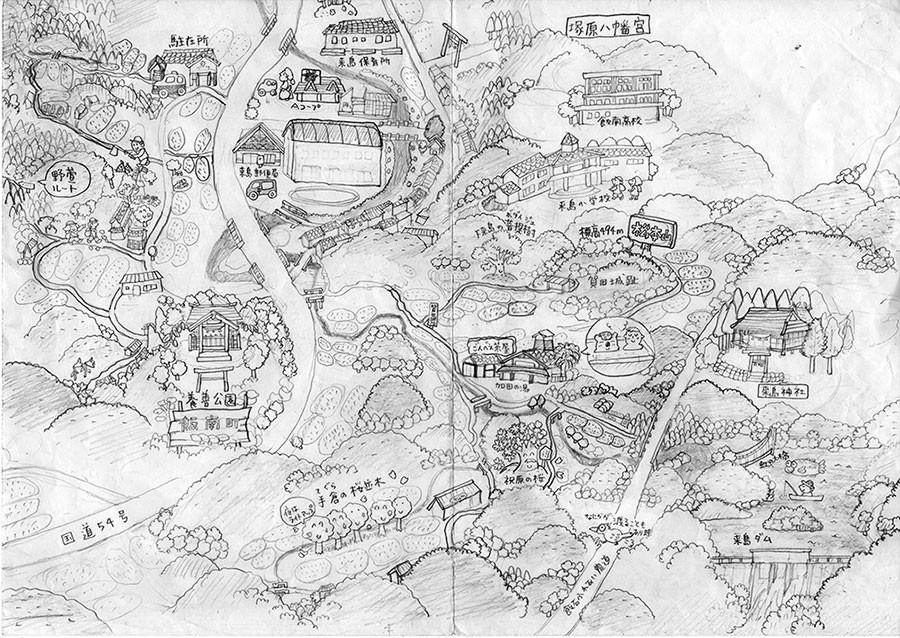 途中で断念した来島地区の絵のラフです