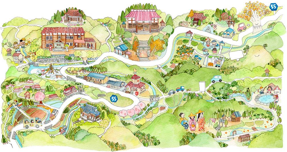 谷地区のイラストマップ