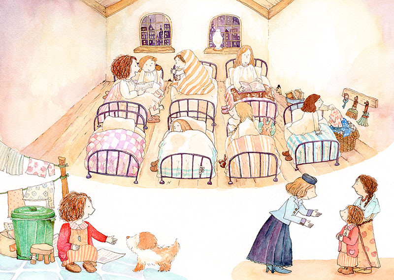 アニーストーリーページイラスト:孤児院の場面ほか