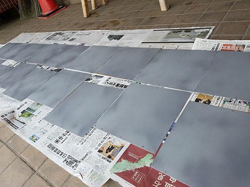 鉄板の準備の様子