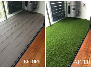 An elegent green look of a balcony with PREMIER GRASS