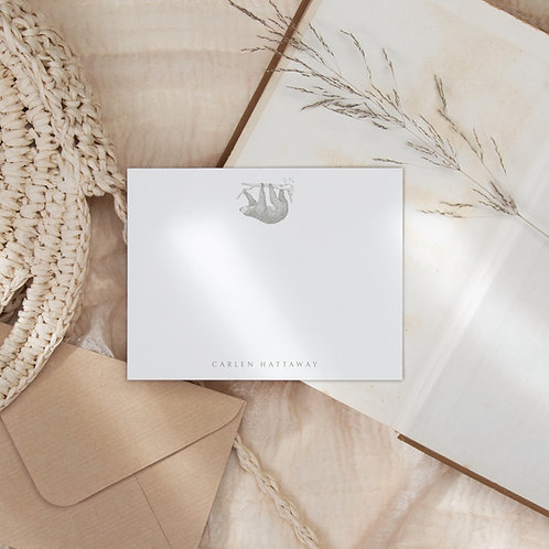 Lazy Days Personalized Flat Note Card Set - Sloth Stationery