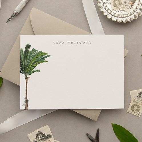 Personalized Palm Tree Note Card Set - Sunday Sway
